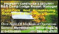 Position Wanted BB  Campground Host  Cabin Retreat  Remote LodgeProperty Manager  Security Guard